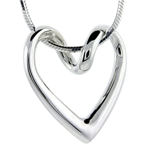 flawless sterling silver floating heart pendant