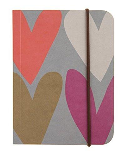 Caroline Gardner Hearts Print Small Chunky Elastic Closure Notebook