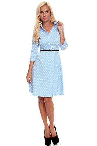 Lolli Couture Polka Dot Long Sleeve Mid Length Dress L Baby-Blue/Polka front-769178