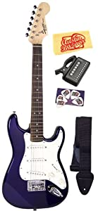Squier by Fender Limited Edition Mini Strat Electric Guitar Bundle with Strap, Tuner, Picks, and Polishing Cloth - Blue