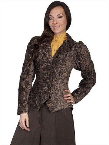 Scully Tapestry Figure Friendly Ladies Jacket - Brown $165.00 AT vintagedancer.com