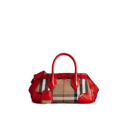 Burberry The Blaze In Graphic Check And Metallic Red Leather Bag