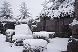 A Snowy Day at the FDR Memorial, Washington Photograph - Beautiful 16x20-inch Photographic Print by Carol M. Highsmith