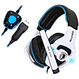 SADES SA903 PC Gaming Headset 7.1 Surround Sound USB Over-ear Stereo Wired Gaming Headphones With Mic Volume Control...
