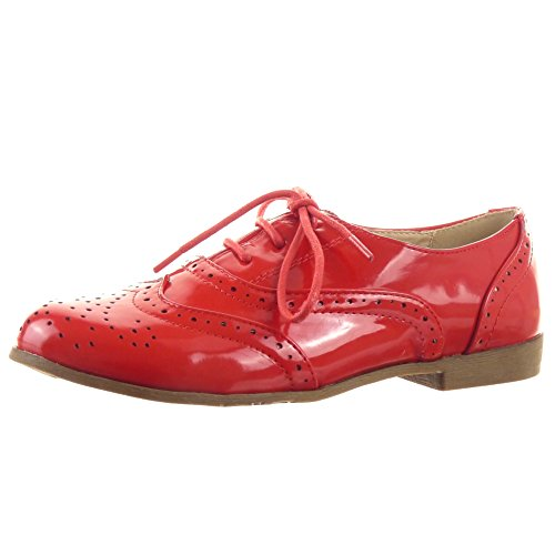 Sopily - Scarpe da Moda Scarpe brogue Mocassini alla caviglia donna lucide Perforato Tacco a blocco 2 CM - Rosso WL-B10 T 40
