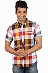 Le Tailor Men's Slim Fit Casual Checkered Shirt (SLCHS108,Maroon & Yellow)