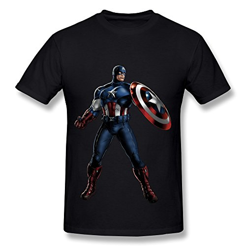 XY-TEE Men's T-shirt Captain America Black