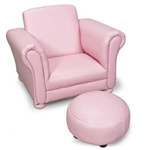 Light pink upholstered chair with ottoman for Childrens armchair and footstool