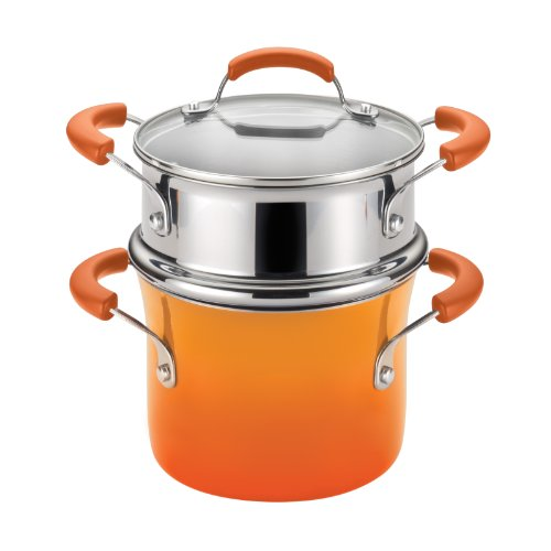 Rachael Ray Hard Enamel Nonstick 3-Quart Covered Steamer Set, Orange Gradient (Rachel Ray Steamer Orange compare prices)