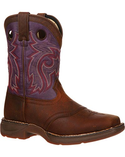 Durango Boys' Plum Saddle Western Boot Square Toe Brown US