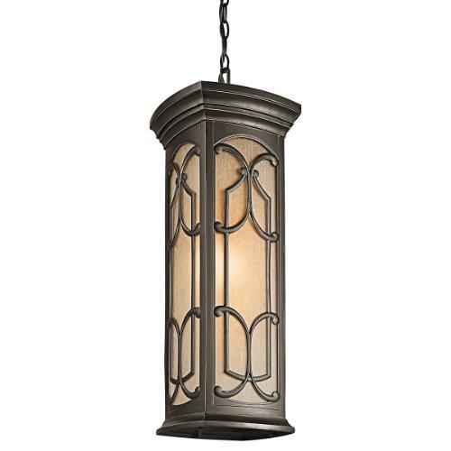 Kichler Lighting 49231Oz Franceasi Light Outdoor Pendant, Olde Bronze With Light Umber Seedy Glass
