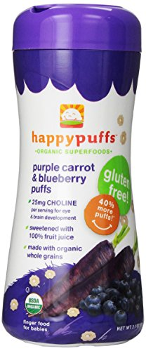 Happy Baby: 1 x Purple Carrot Blueberry Puffs (2.1oz), 1 x Apple Puffs (2.1oz), 1 x Greens (2.1oz) Pack of 3