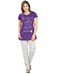 KuuKee Purple Cotton Nightsuit Sets (2677_Purple_XL)