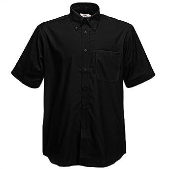 Fruit Of The Loom Oxford Short Sleeve Shirt Black S
