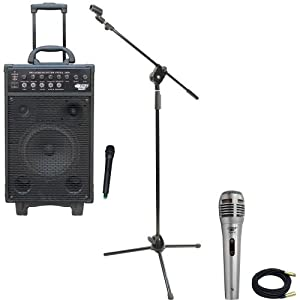 Pyle Speaker, Mic, Cable and Stand Package - PWMA1050 800 Watt VHF Wireless Battery Powered Pa System W/Echo/Ipod/MP3 Input Jack - PDMIK1 Professional Moving Coil Dynamic Handheld Microphone - PMKS3 Tripod Microphone Stand W/ Extending Boom - PPMCL30 30ft. Symmetric Microphone Cable XLR Female to XLR Male