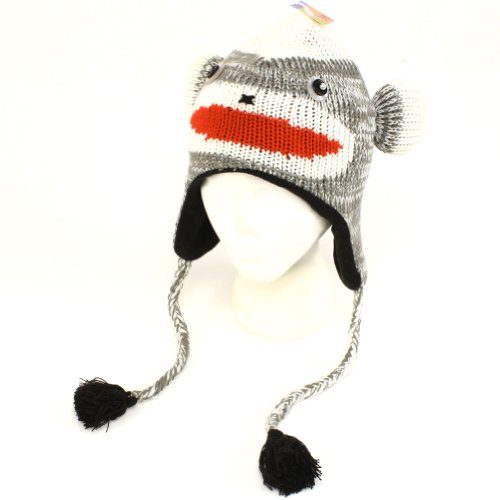 Winter Sock Monkey Animal Knit Trooper Fleece Ski Hat Gray [Apparel]