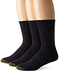 Gold Toe Men\'s Casual Crew 3 Pack Socks, Navy, One Size