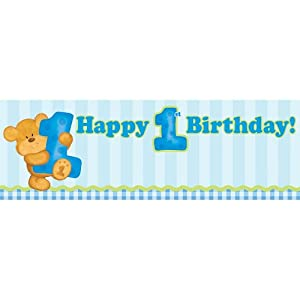 Creative Converting Bears First Birthday Giant Party Banner, Blue by Creative Converting