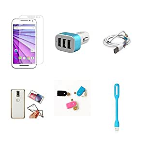 High Quality Combo of Moto G3 Temper Glass + Car Charger 3 USB + USB Data Cable + Attractive Back Cover (Transparent Back with Golden Border) + OTG and USB Dual Card Reader