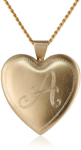 18k Gold Plated Personalized with Initial-A Heart Chain Locket Necklace, 24""