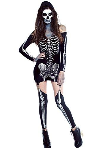 [FiveFour Women's Halloween Costume Off-shoulder X-rayed Skeleton Dress Costume] (Borderlands 2 Costumes For Sale)