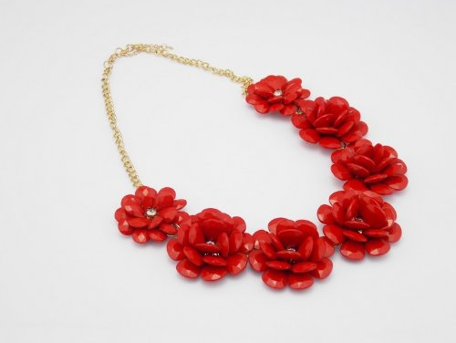 Necklace Red Flower Flower Statement Necklace