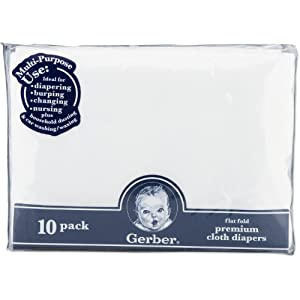 Gerber 10 Count Flatfold Gauze Cloth Diapers, White