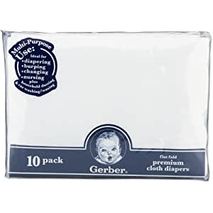 Gerber 10 Count Flatfold Gauze Cloth Diapers, White (Discontinued by Manufacturer)