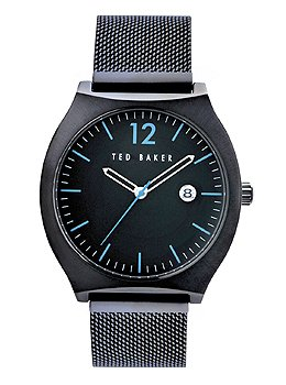 Ted Baker Men'S Te3045 Vintage Triple Black Bracelet Blue Accents Watch