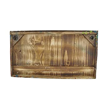 Vintage Look Multicolored Wooden Wall Plaque with Metal Hooks/Shelf