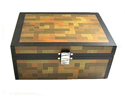 Minecraft Inspired Chest, Desktop Organizer Wooden Box, Crystals, 6 x 5 x 3 from SparklingCollectibles