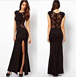 Sexy Womens Ladies Floral Lace See-through Back Slim Bodycon Side Split Maxi Long Party Evening Dress UK Size 6-14