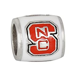 Teagan Collection North Carolina State Wolfpack Red NC on a White Bead