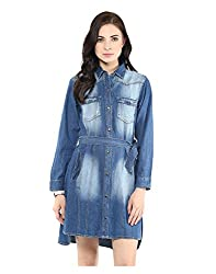Yepme Button-Down Denim Dress - Medium Wash -- YPMDRES0270_S