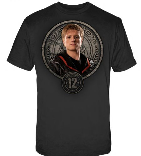 The Hunger Games Movie Men's Tee Peeta in Stone Seal Large (Peeta Costume)