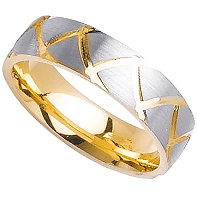 14k Yellow & White Gold Mens Wedding Band (6MM)