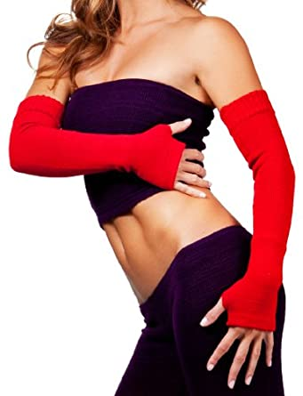 Denim Be Mine Arm Warmers by KD dance New York, Stretch Knit Fingerless Gloves Thumb Hole, Sexy, Fun, Warm & Fashionable #MadeInUSA
