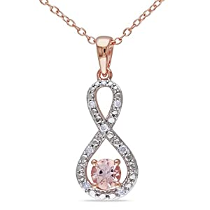 """Rose Gold Flashed Silver Morganite and Accent Diamond Pendant (0.1 Cttw, G-H Color, I2-I3 Clarity), 18"""""""