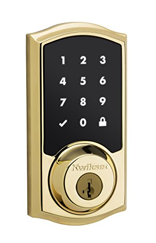Kwikset SmartCode 916 Z-Wave Touchscreen Electronic Deadbolt with Home Connect Technology, Polished Brass (Kwikset Touchpad Keyless Entry compare prices)