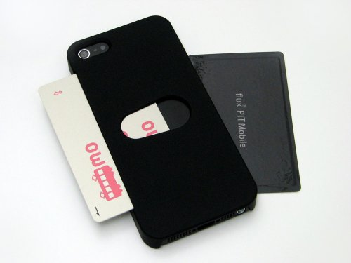 フラックス スロットイン ICカードケース for iPhone 5 「おサイフiPhoneケース」 (干渉エラー防止シート付属)/ブラック