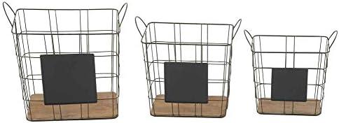 3-Pc Grand Metal Wood Basket Set