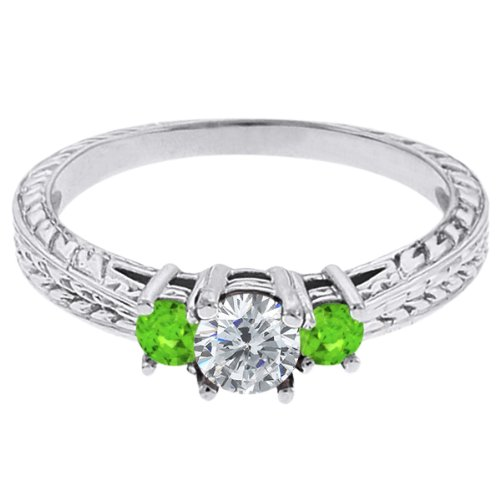 0.56 Ct Round G/H Diamond Green Sapphire 14K White Gold 3-Stone Ring
