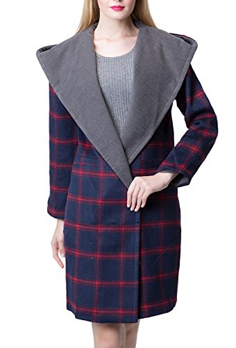 Escalier Women's Winter Plaid Wool Trench Coat Long Jacket (6, Purple)