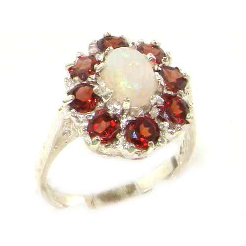 Luxury Ladies Solid Sterling Silver Natural Opal & Garnet Large Cluster Ring - Size O 1/2 - Finger Sizes L to Z Available - Perfect gift for Anniversary, Engagement, Wedding, First Child