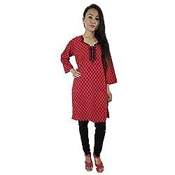 ShopMore Printed Kurta(Large,Red)