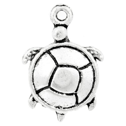 10 Tibet Antique Tibetan Silver Animal Turtle Charm Pendants 22x13x3mm U-TS0326