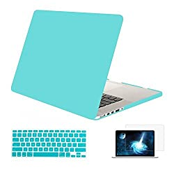 Mosiso - 3 in 1 Soft-Skin Smooth Finish Soft-Touch Plastic Hard Case Cover & Keyboard Cover & Screen Protector for Macbook Pro 13.3'' with Retina display NO CD-ROM, Hot Blue