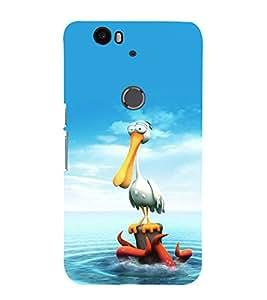printtech Crane Octopus Seawater Back Case Cover for Motorola Google Nexus 6P