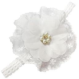 White Flower Like Lace Chiffon Headband (0-3months)