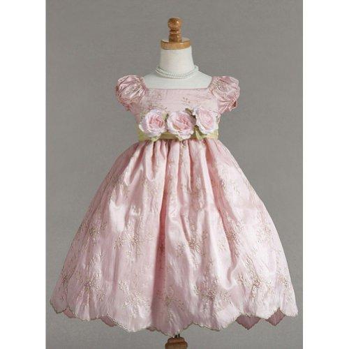 Crayon Kids Pink Floral Roses Easter Flower Girl Dress 4T front-743071